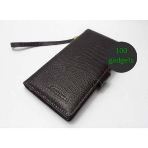 Кожаный чехол портмоне (нат. кожа крокодила) для Lenovo IdeaPhone K900 Коричневый