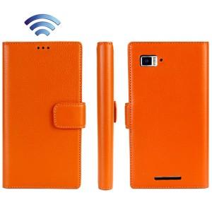 Кожаный чехол портмоне (нат. кожа) для Lenovo Vibe Z (K910) Оранжевый