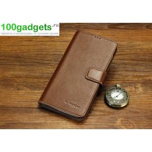 Кожаный чехол портмоне (нат. кожа) для Lenovo Vibe Z (K910) Коричневый