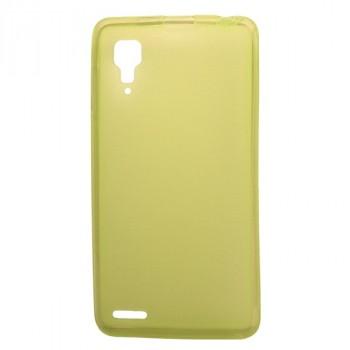 Силиконовый полупрозрачный матовый чехол для Lenovo P780 Ideaphone Желтый
