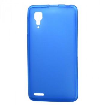 Силиконовый полупрозрачный матовый чехол для Lenovo P780 Ideaphone Голубой