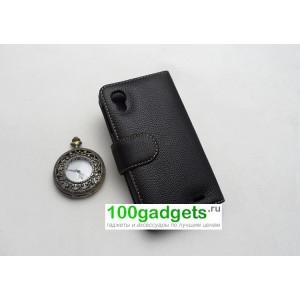 Кожаный чехол портмоне (нат. кожа) для Lenovo IdeaPhone S720 Черный