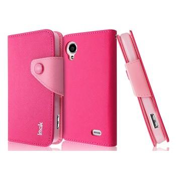 Чехол текстурный портмоне для Lenovo IdeaPhone S720 Красный