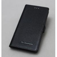 Кожаный чехол горизонтальная книжка (нат. кожа) с крепежной застежкой для Lenovo S860 Черный