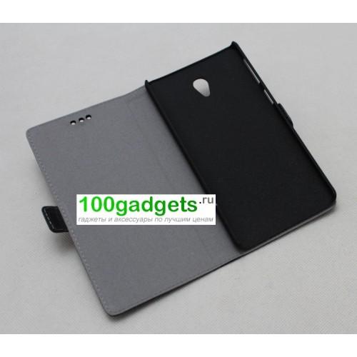 Кожаный чехол горизонтальная книжка (нат. кожа) с крепежной застежкой для Lenovo S860 Розовый
