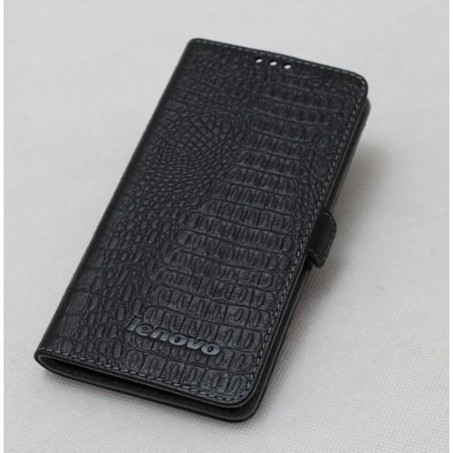 Кожаный чехол горизонтальная книжка (нат. кожа крокодила) с крепежной застежкой для Lenovo S860 Коричневый