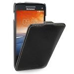 Кожаный чехол книжка вертикальная (нат. кожа) для Lenovo Vibe X S960 черная