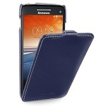 Кожаный чехол книжка вертикальная (нат. кожа) для Lenovo Vibe X S960 синяя