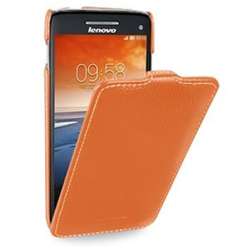 Кожаный чехол книжка вертикальная (нат. кожа) для Lenovo Vibe X S960 оранжевая