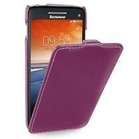 Кожаный чехол книжка вертикальная (нат. кожа) для Lenovo Vibe X S960 фиолетовая