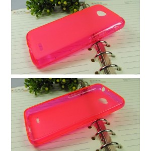 Силиконовый матовый полупрозрачный чехол для LG L70 Розовый