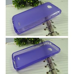 Силиконовый матовый полупрозрачный чехол для LG L70 Фиолетовый