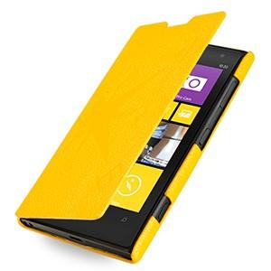 Кожаный чехол книжка горизонтальная (нат. кожа) серия Compass для Nokia Lumia 1020 Желтый
