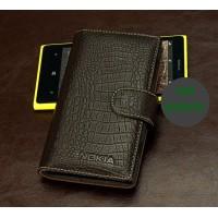 Кожаный чехол портмоне (нат. кожа крокодила) для Nokia Lumia 1020 Коричневый