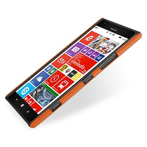 Кожаный чехол Back Cover (нат. кожа) для Nokia Lumia 1520 оранжевый