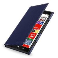 Кожаный чехол книжка горизонтальная (нат. кожа) для Nokia Lumia 1520 синяя