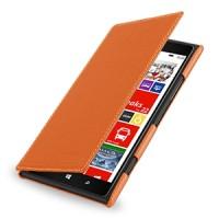 Кожаный чехол книжка горизонтальная (нат. кожа) для Nokia Lumia 1520 оранжевая
