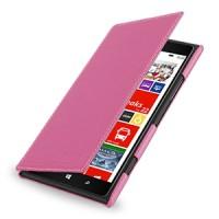 Кожаный чехол книжка горизонтальная (нат. кожа) для Nokia Lumia 1520 розовая
