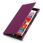Кожаный чехол книжка горизонтальная (нат. кожа) для Nokia Lumia 1520 фиолетовая