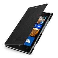 Кожаный чехол горизонтальная книжка (нат. кожа) для Nokia Lumia 925 Черный