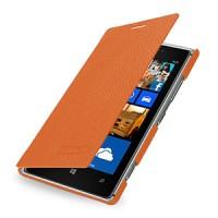 Кожаный чехол горизонтальная книжка (нат. кожа) для Nokia Lumia 925 Оранжевый