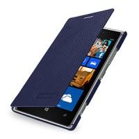 Кожаный чехол горизонтальная книжка (нат. кожа) для Nokia Lumia 925 Синий
