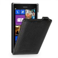 Кожаный чехол вертикальная книжка (нат. кожа) для Nokia Lumia 925 Черный