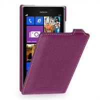 Кожаный чехол вертикальная книжка (нат. кожа) для Nokia Lumia 925 Фиолетовый