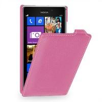Кожаный чехол вертикальная книжка (нат. кожа) для Nokia Lumia 925 Розовый