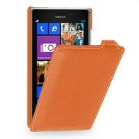 Кожаный чехол вертикальная книжка (нат. кожа) для Nokia Lumia 925 Оранжевый