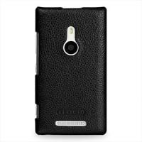 Кожаный чехол-накладка Back Cover (нат. кожа) для Nokia Lumia 925 Черный