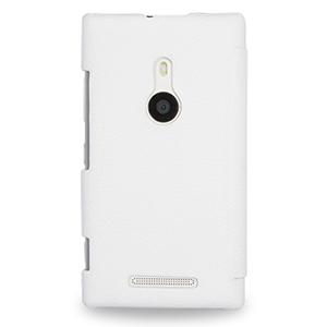 Кожаный чехол-накладка Back Cover (нат. кожа) для Nokia Lumia 925 Белый