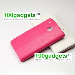 Чехол портмоне подставка для HTC One Mini Розовый