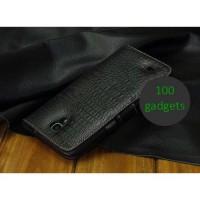 Кожаный чехол портмоне (нат. кожа крокодила) для Samsung Galaxy Mega 6.3 GT-I9200 Черный