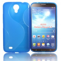 Силиконовый чехол S для Samsung Galaxy Mega 6.3 GT-I9200 Голубой