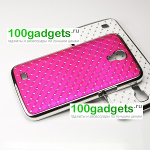 Чехол пластик/металл со стразами для Samsung Galaxy Mega 6.3 GT-I9200 Пурпурный
