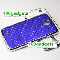 Чехол пластик/металл со стразами для Samsung Galaxy Mega 6.3 GT-I9200 Синий