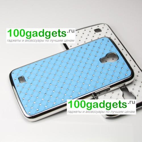 Чехол пластик/металл со стразами для Samsung Galaxy Mega 6.3 GT-I9200 Голубой