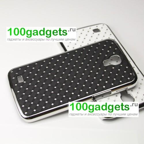 Чехол пластик/металл со стразами для Samsung Galaxy Mega 6.3 GT-I9200 Розовый