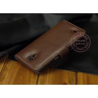 Кожаный чехол портмоне (нат. кожа) для Samsung Galaxy Mega 6.3 GT-I9200 Коричневый