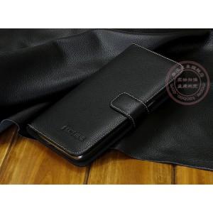 Кожаный чехол портмоне (нат. кожа) для Samsung Galaxy Mega 6.3 GT-I9200 Черный