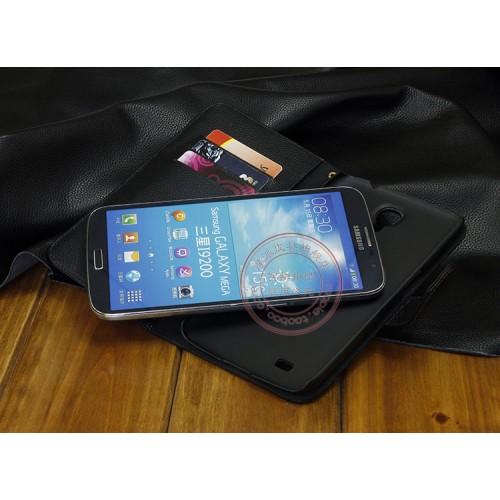 Кожаный чехол портмоне (нат. кожа) для Samsung Galaxy Mega 6.3 GT-I9200 Оранжевый