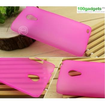 Пластиковый полупрозрачный чехол для Meizu MX3 Розовый