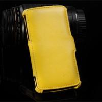 Кожаный чехол книжка горизонтальная подставка для Google Nexus 5 Желтый