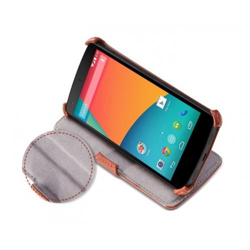 Кожаный чехол книжка горизонтальная подставка для Google Nexus 5