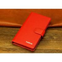 Кожаный чехол горизонтальная книжка (нат. кожа) с крепежной застежкой для Nokia Lumia 1320 Оранжевый