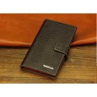 Кожаный чехол портмоне (нат. кожа крокодила) для Nokia Lumia 1320 Коричневый