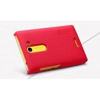 Пластиковый матовый премиум чехол для Nokia Asha 502 Красный
