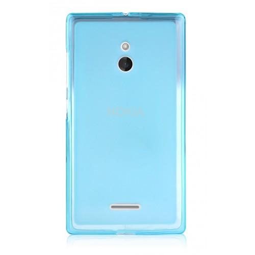 Силиконовый матовый полупрозрачный чехол для Nokia XL Голубой