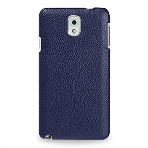 Кожаный чехол накладка Back Cover (нат. кожа) для Galaxy Note 3 Синий